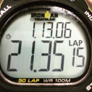 An Iron Man watch showing my 750 M time