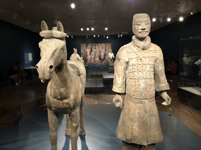 A Terracotta Horseman with Horse