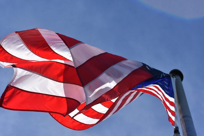 American Flag Viewed from Below