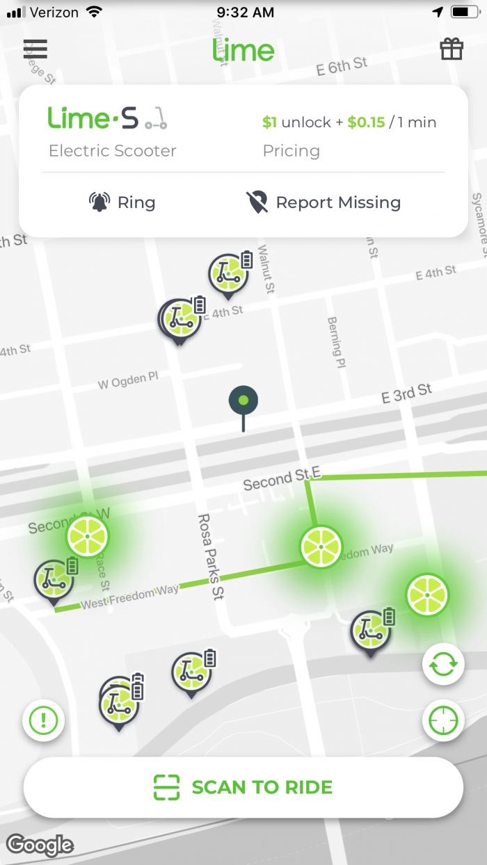 Lime Scooter App Screen