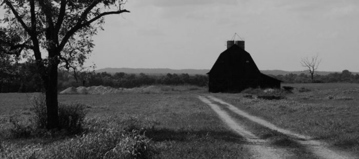 Black and White Photo of Barn on Kentucky Farm