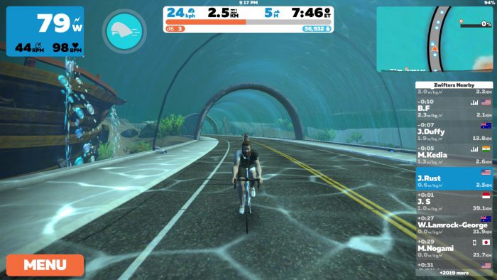 Zwift Watopia Screen