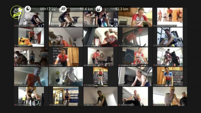 Grid View Of Cyclists Riding Trainers